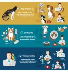 Set horizontal banners pet care vet clinic vector