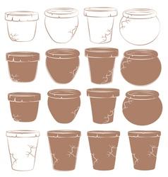 Set of old clay pots for flowers isolated objects vector