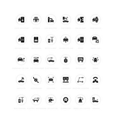 Set simple icons transport technology vector