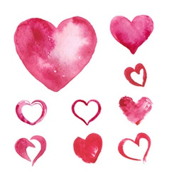 set watercolor painted pink heart vector image