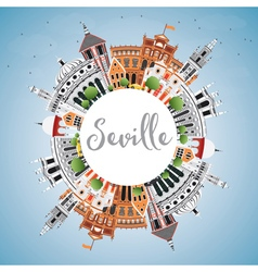 Seville Skyline with Color Buildings vector