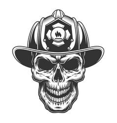 Skull in the firefighter helmet vector