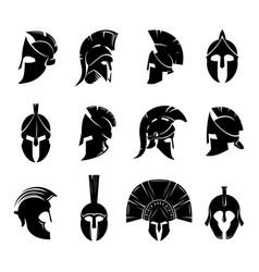 spartan helmet set vector image