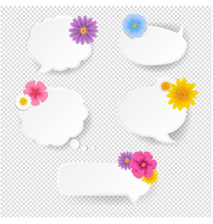 speech bubble set with flowers transparent vector image