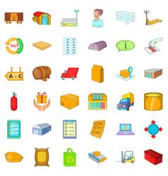 Stock icons set cartoon style vector