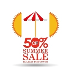 Summer sale 50 discounts with umbrella vector