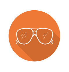 Sunglasses flat linear long shadow icon vector