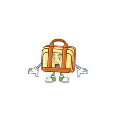 Surprised work suitcase cartoon character vector