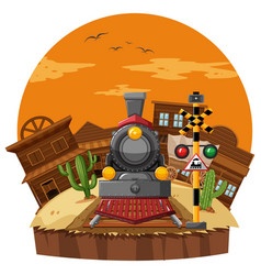 Train ride in western town vector
