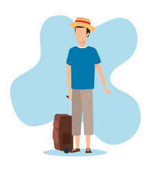 Travel boy with bag design vector