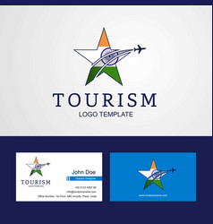 Travel india flag creative star logo and business vector