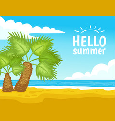tropical beach with palm tree - hello summer vector image