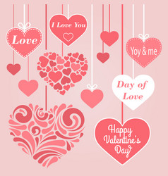valentine s day collection of hearts vector image