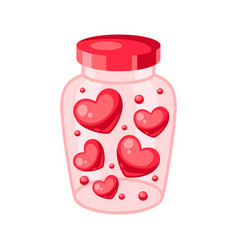 Valentines day jar filled with hearts vector