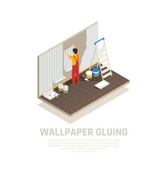 wallpaper gluing isometric background vector image