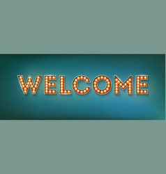 welcome vintage three-dimensional sign with vector image