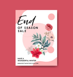 Winter bloom poster design with rose lilies vector