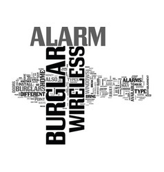 Wireless burglar alarm text word cloud concept vector