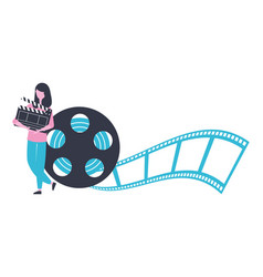 Woman with clapperboard and reel strip production vector