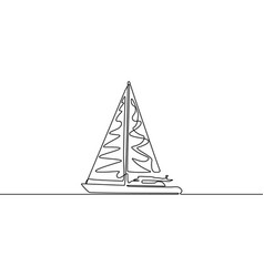 yacht continuous line drawing single line vector image
