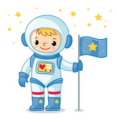 Young cosmonaut in a spacesuit is standing on the vector