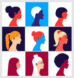 Young multi ethnic women in profile vector