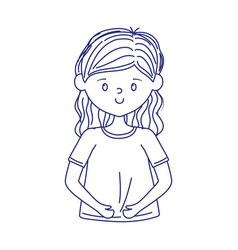 young woman cartoon character isolated icon vector image
