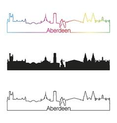Aberdeen skyline linear style with rainbow vector image