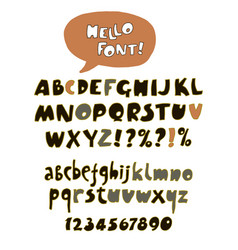 hand drawn retro color font vector image