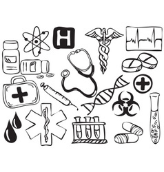 Medical and pharmacy icons drawing vector image