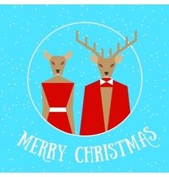 Merry christmas reindeer couple vector image vector image