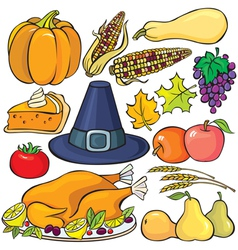 Thanksgiving Day Icon Set vector image vector image