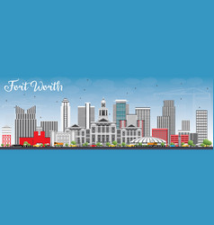 fort worth skyline with gray buildings and blue vector image
