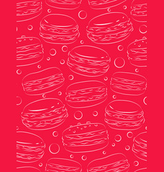 seamless pink texture with outline macaroon vector image vector image