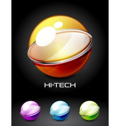 Set of color glossy sphere with metal elements vector image vector image