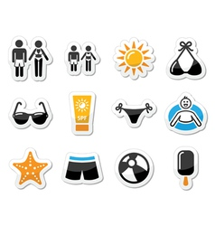 Summer beach holidays icons set vector image