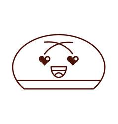 cartoon bun bread food kawaii funny vector image