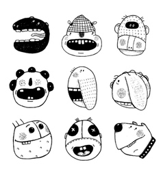 Doodle Outline Cartoon Funny Monster Faces vector image vector image