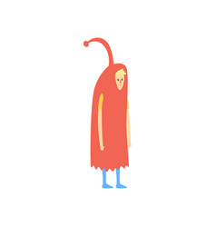 freak man character in funny red costume freaky vector image vector image