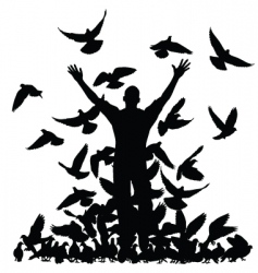 pigeon man vector image vector image