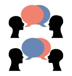 silhouette men women talking vector image