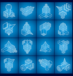 abstract construction isometric designs set vector image
