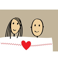 Enamored couple in bed vector image vector image