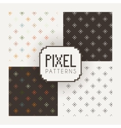 Set of seamless patterns of pixel elements vector image