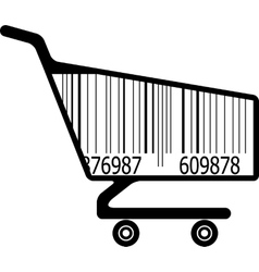 Shopping cart with ar code vector
