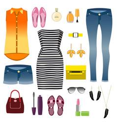 woman clothes decorative icons flat set vector image