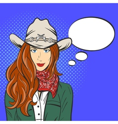 young pretty girl in cowboy hat Pop art style Wild vector image