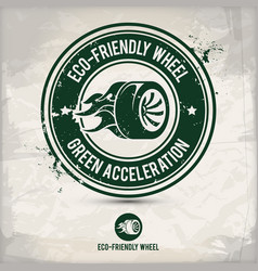 alternative eco friendly tire and wheel stamp vector image