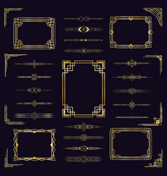 art deco border frames vintage arabic golden vector image