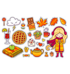 beautiful blonde girl plaid berry pie autumn vector image